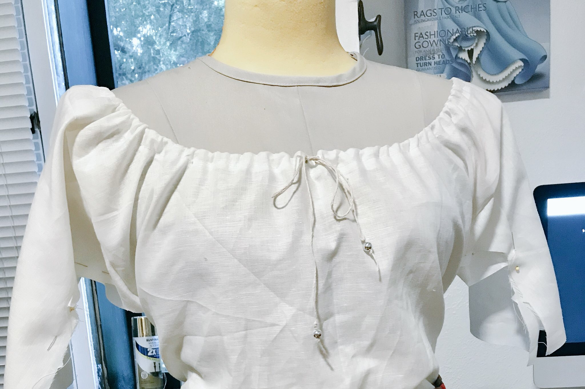 Partially completed blouse. Mine is gathered with a drawstring.