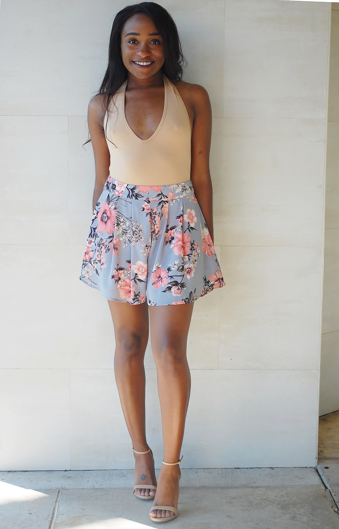 THE DEETS:  Halter Neck Bodysuit -   Naked Wardrobe * ; Floral Print Shorts -   STRUT  ; Stecy Sandals -   Steve Madden     *similar style