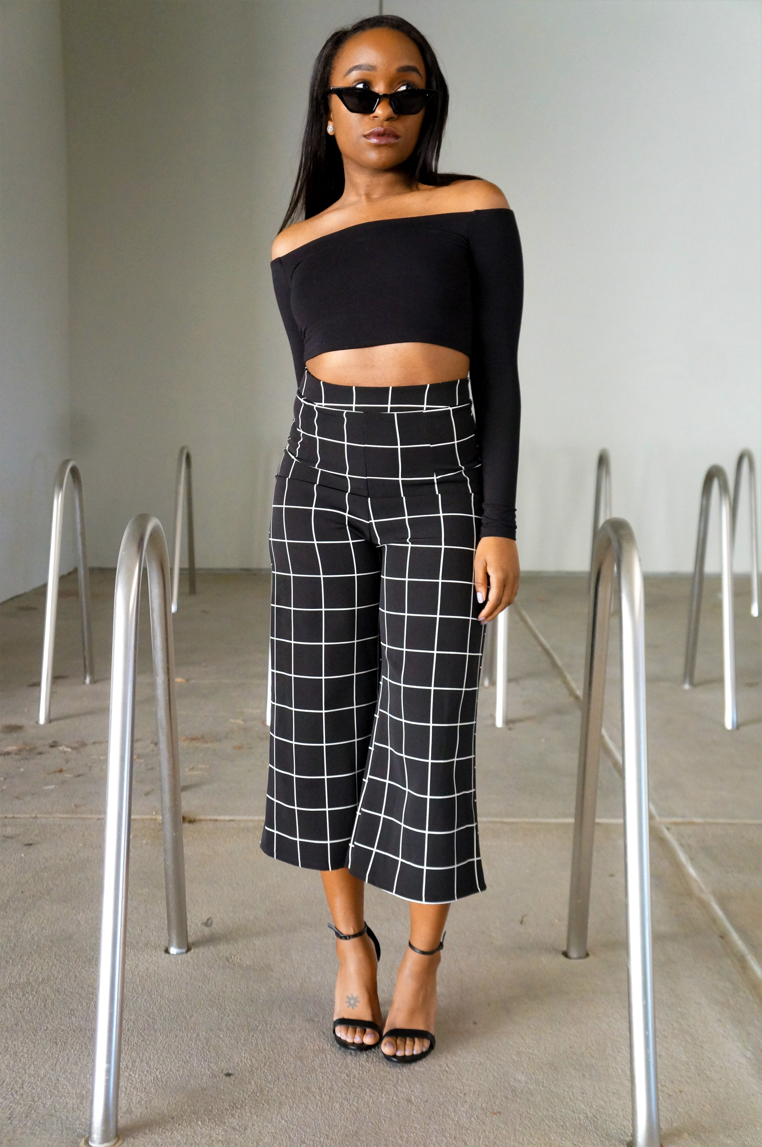 THE DEETS:  NW Off Shoulder Crop -   Naked Wardrobe  ; Squared Away Pants -   Naked Wardrobe  ; Stecy Sandals -   Steve Madden ; Cat Eye Sunglasses -  Attention Frames *  *similar style