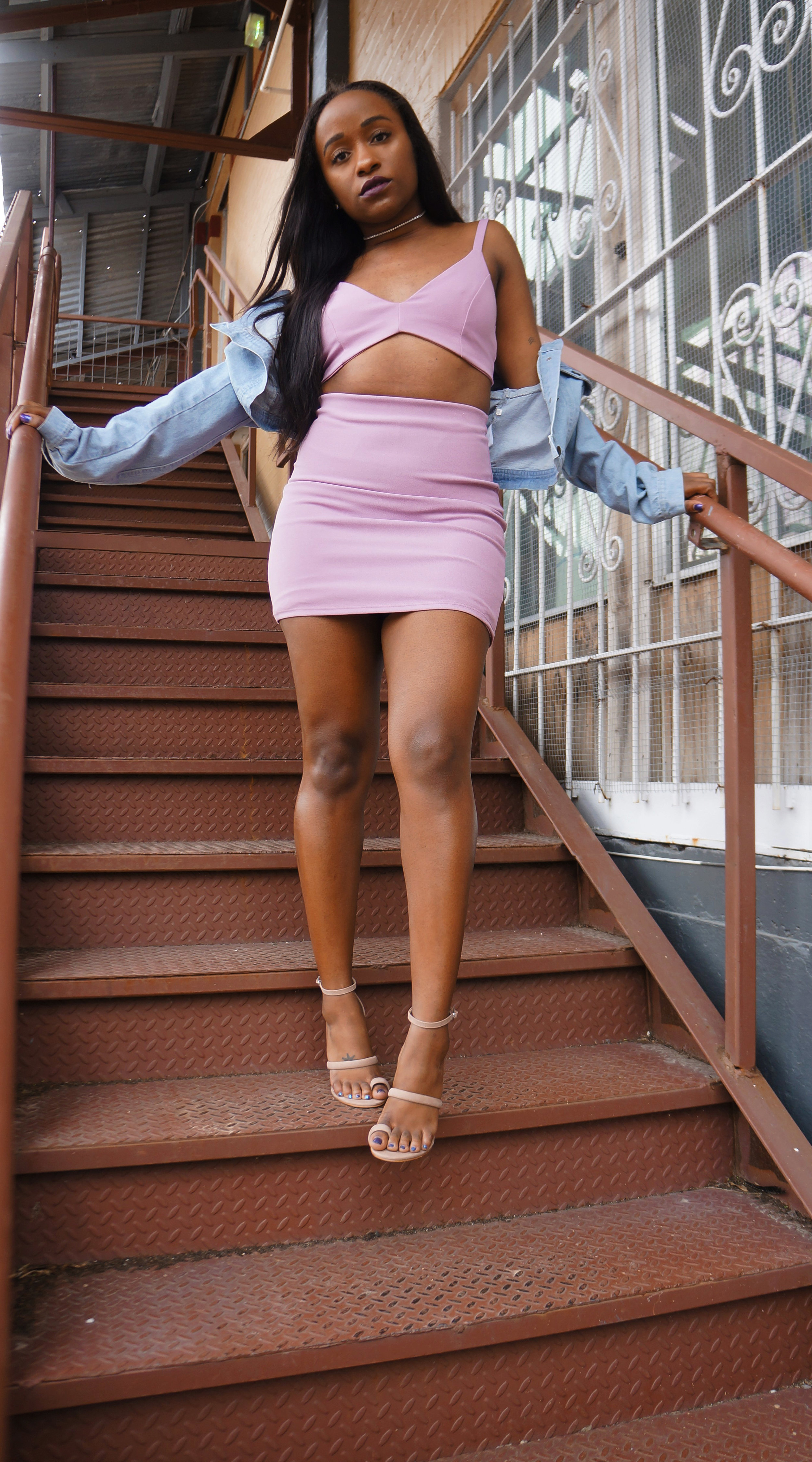 THE DEETS:  The Knockout Set –   Naked Wardrobe  ; Strappy Nude Heel –   Steve Madden   ;  Cropped Denim Jacket –     Boohoo   *   *similar style