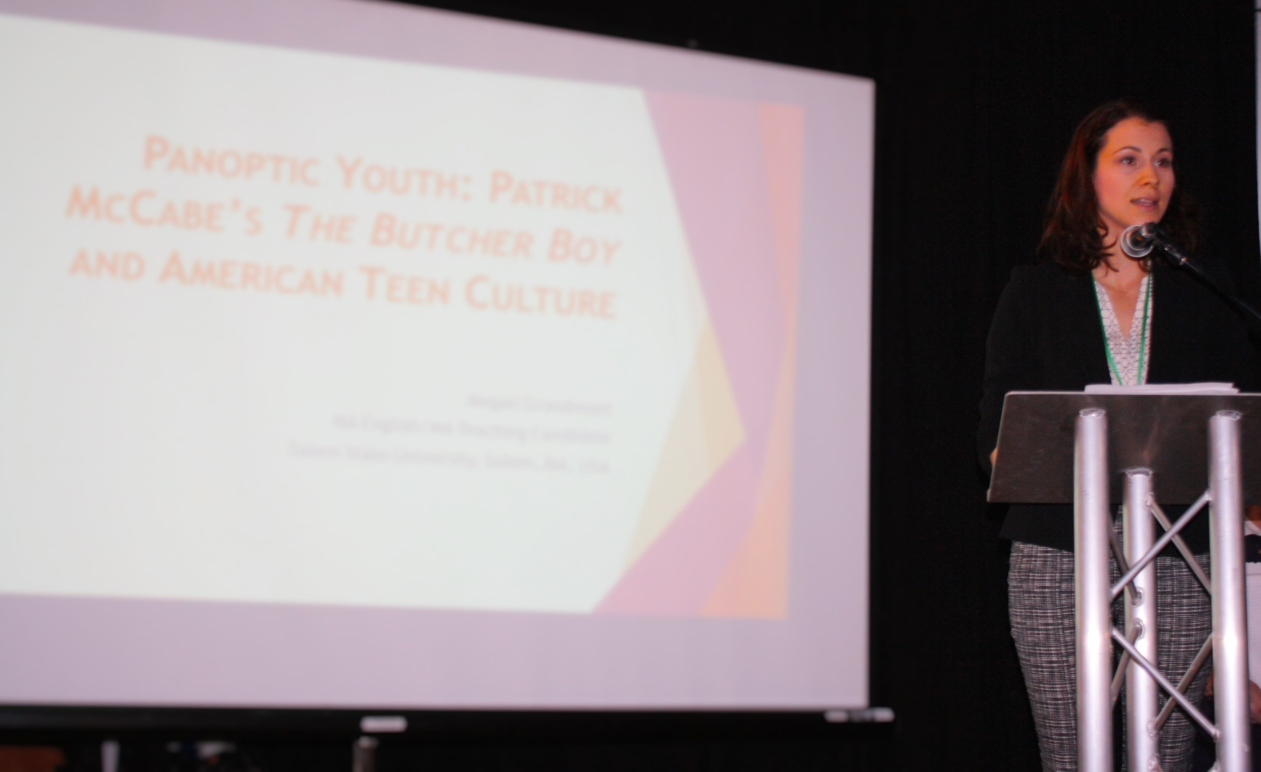 "Presenting my paper, ""Panoptic Youth: Patrick McCabe's  The Butcher Boy  and American Teen Culture,"" at the second annual Transatlantic Connections Conference in Bundoran, County Donegal, Ireland, in January 2015. Photo Credit: Anne Mooney"