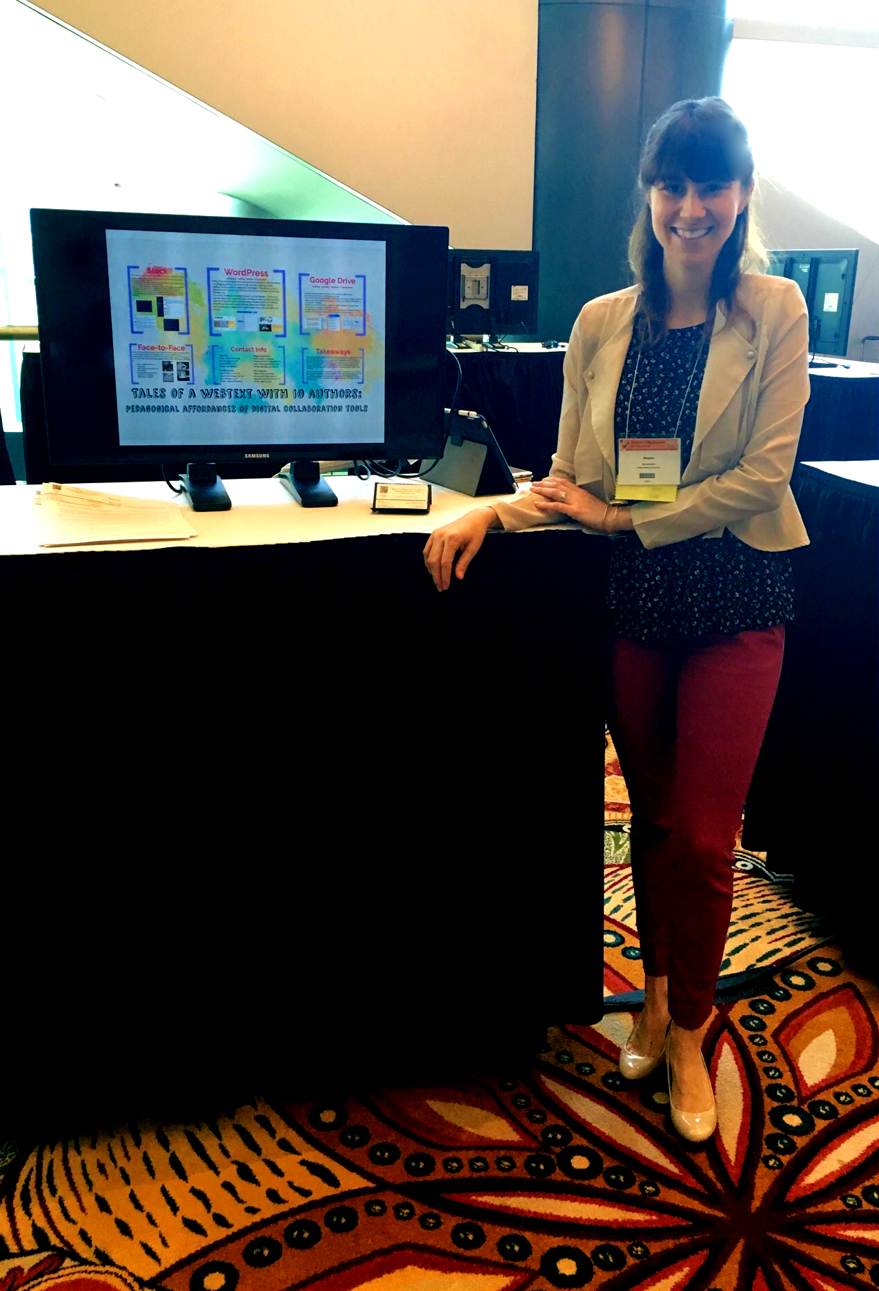 "Presenting a digital pedagogy poster, ""Tales of a Webtext with 10 authors: Pedagogical Affordances of Digital Collaboration Tools,"" at the Conference on College Composition and Communication (CCCC's) in Houston, Texas, in April 2016. Photo Credit: Danah Hashem"