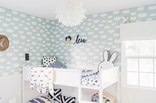 "We loved @i_heart_loo's room reveal for her littles, Luke and Leia. Pictured here is our custom 18"" name sign in Audrey script customized with black paint 🖤"