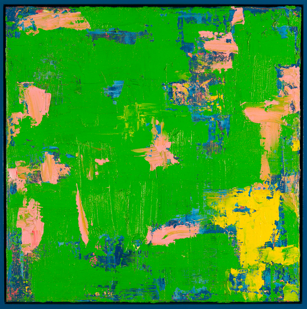 Green With Envy, 2015, oil on canvas, acrylic on timber frame, 81 x 81 x 5.5cm
