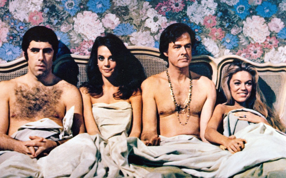 """BOB AND CAROL AND TED AND ALICE (1969 / DCP) - Tues Jan 22nd 2:50pm / Film Forum, New York CityWhat does Robert Culp do when, back from an affair himself, he finds another man in bed with wife Natalie Wood? Offer a friendly drink, of course. Bitchy Dyan Cannon and uptight Elliott Gould complete the bed-sharing foursome in a smash hit that once epitomized the """"New Permissiveness.More info HERE"""