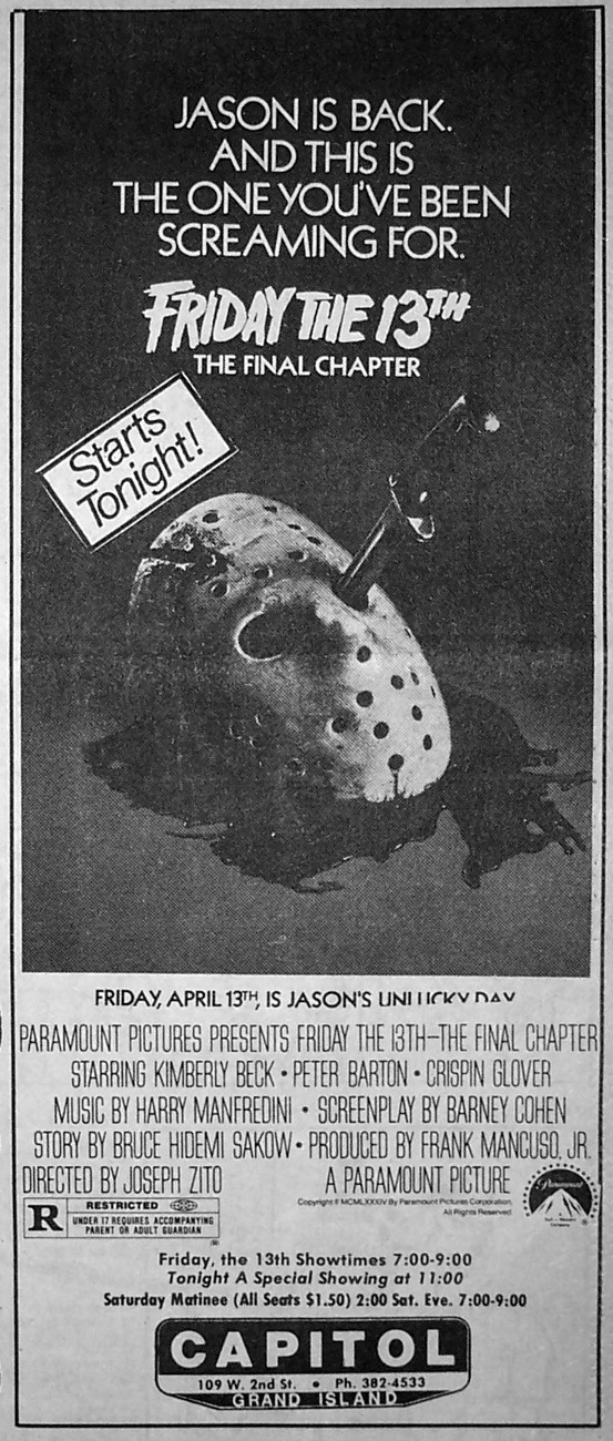 FRIDAY THE 13TH THE FINAL CHAPTER (1984) newspaper ad 1.jpg