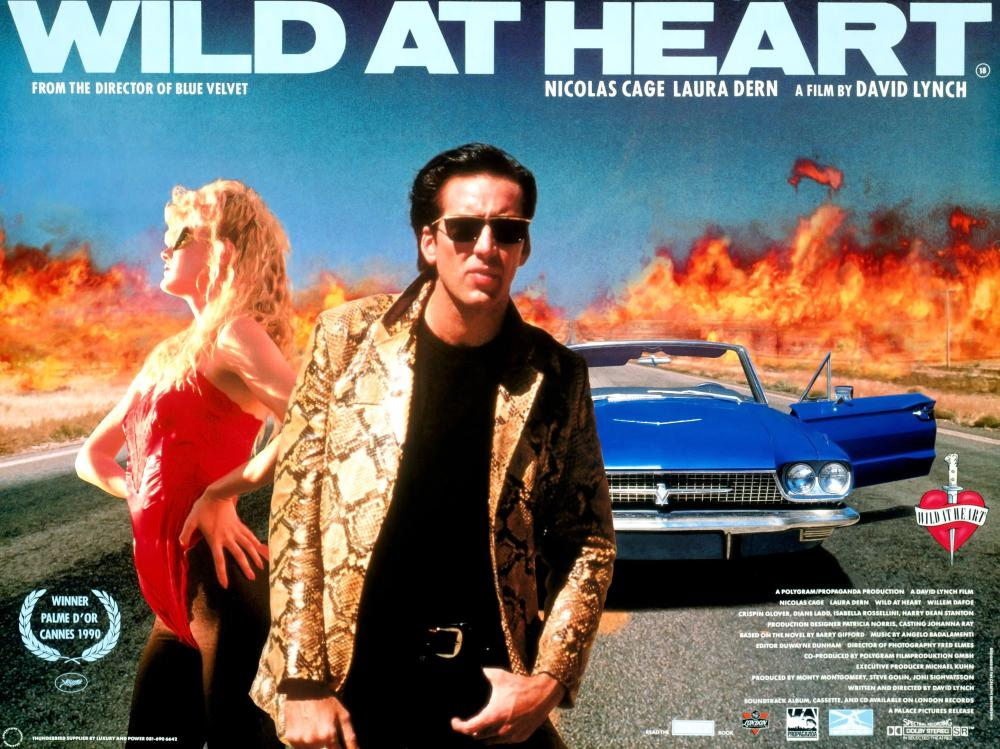 WILD AT HEART (1990 / DCP) - Thurs Feb 14th 7pm / Roxy Cinema, New York CityNicolas Cage and Laura Dern are perfection in David Lynch's love-letter to The Wizard of Oz, Elvis Presley, road movies and the power of reckless love. Wild At Heart finds the director at his most fearless, a mood that suits the film's young, love-crazed coupleMore info HERE