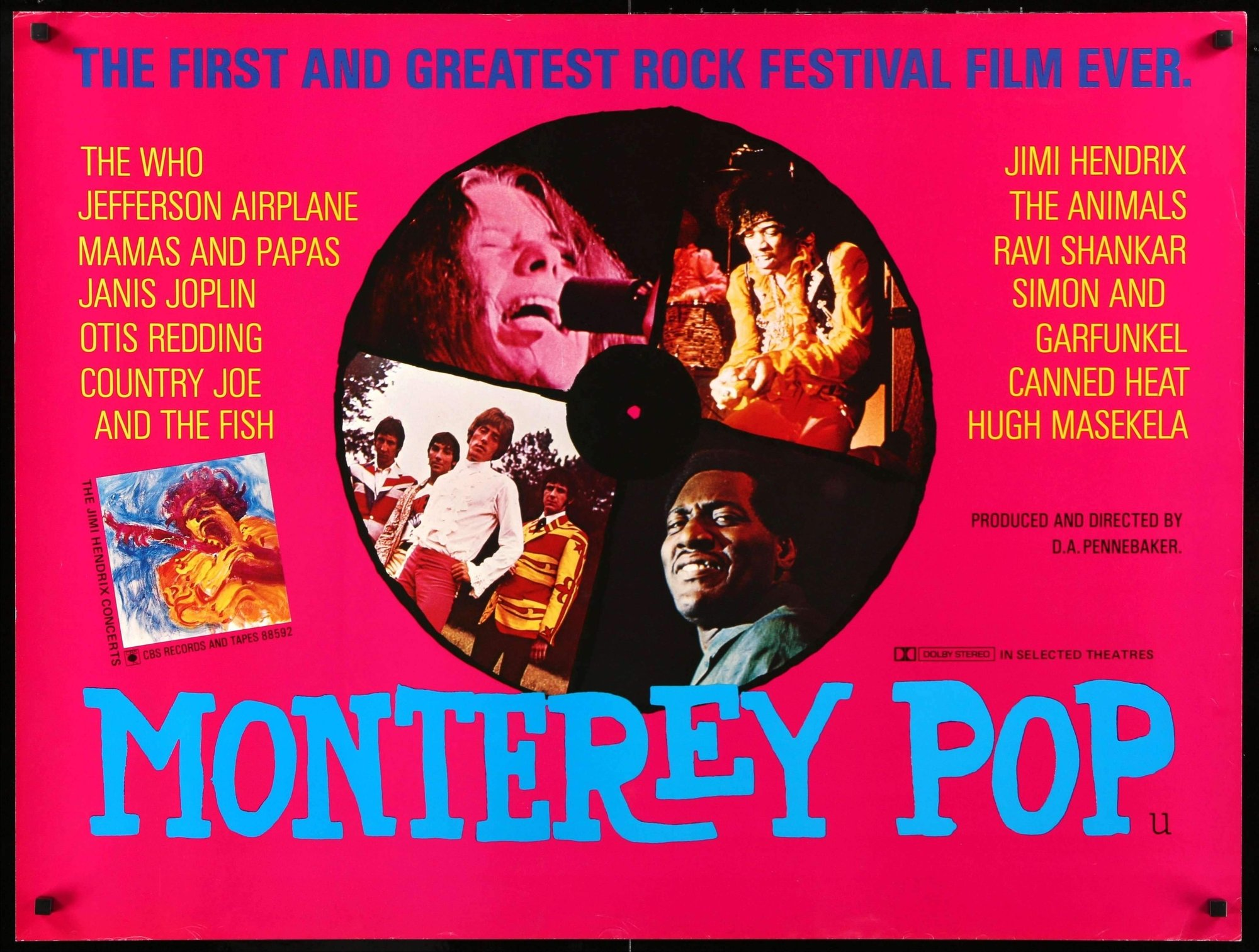 MONTEREY POP (1968 / 4-Track Magnetic Sound 35mm Print) - Sat Feb 16th / New Beverly Cinema, Los Angeles CARare 4-Track Mag Print! The first great & groovy rock festival film! D.A. Pennebaker's legendary concert documentary showcases the historic, pre-Woodstock 1967 Monterey International Pop Festival including incendiary performances by Janis Joplin, The Who, Jefferson Airplane, Mamas and Papas, Otis Redding, Country Joe and the Fish, Jimi Hendrix, The Animals, Ravi Shankar, Simon and Garfunkel, Canned Heat and Hugh Masekela!More info HERE