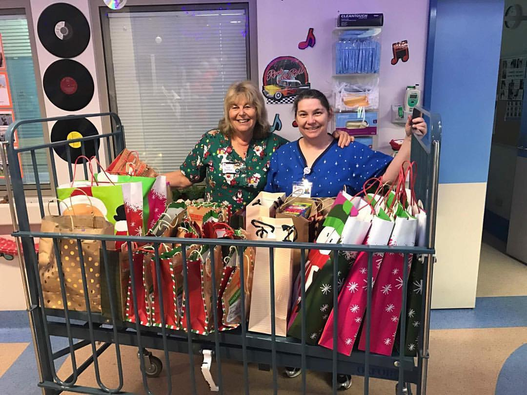 Christmas arrived at the Children's Ward at Hornsby Hospital. The bags for the kids and the Mum's were delivered to the hospital, ready to hand out to the Children and Parents on ( Christmas Day ).
