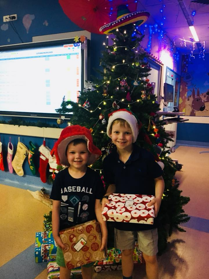 Santa's Elves delivering gifts to the Paediatric Ward at Hornsby Hospital.