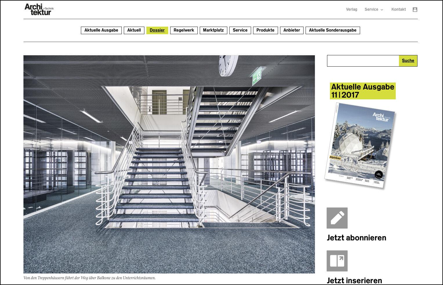 Webseite Architektur und Technik