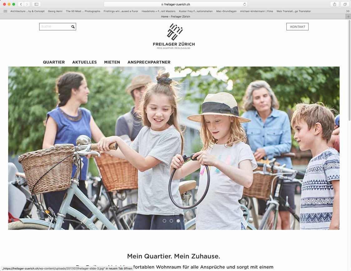 Webseite Freilager, Zürich