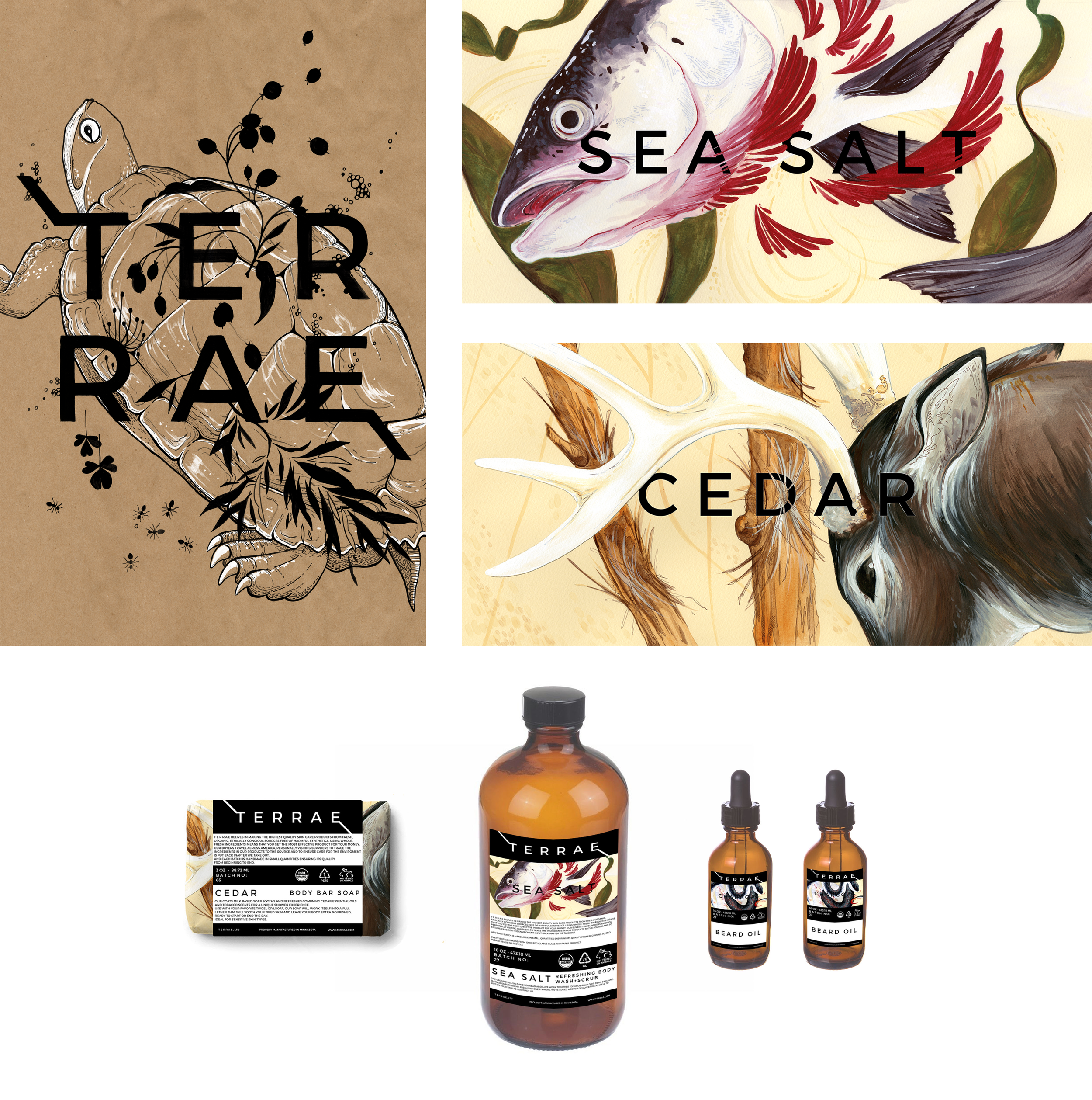 TERRAE   Mock packaging for a unisex beauty line of my own creation which specializes in naturally-sourced ingredients.