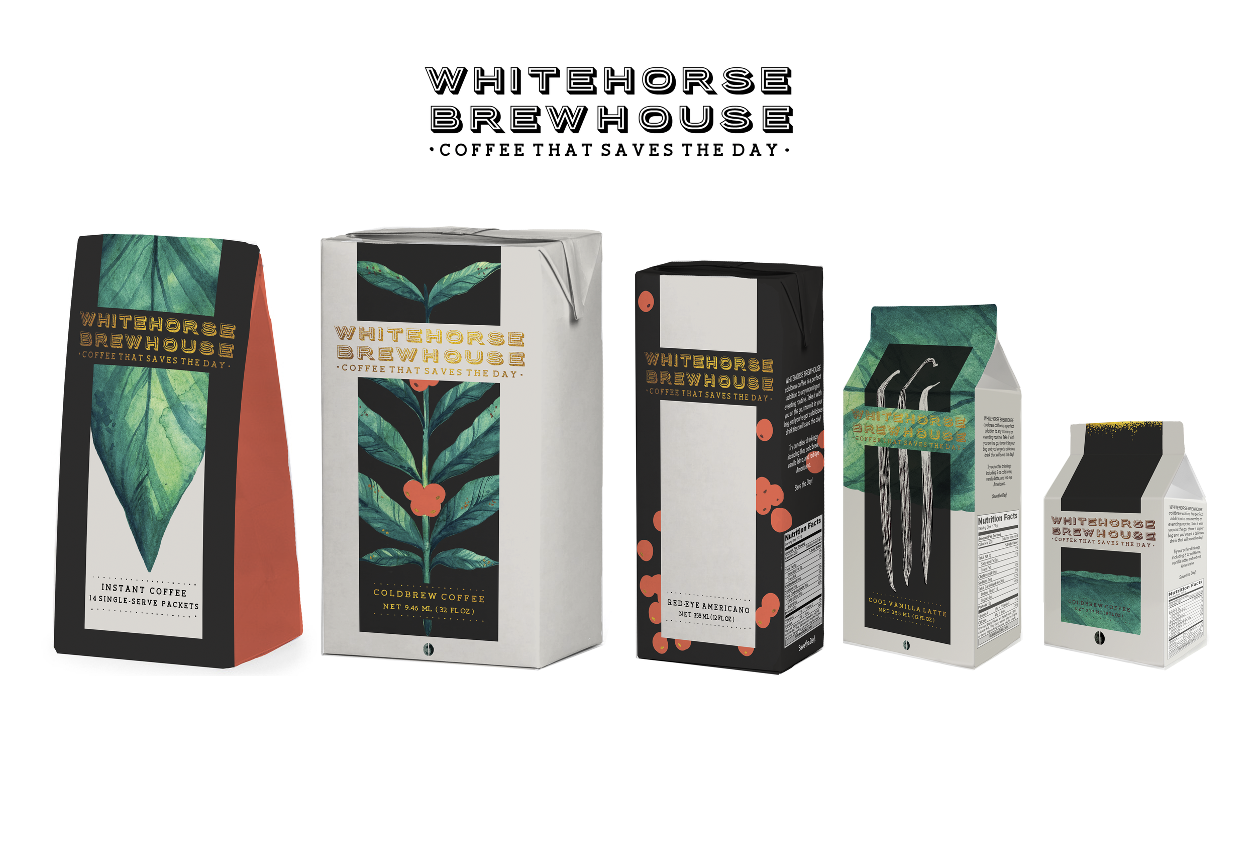 WHITEHORSE BREWHOUSE   Mock paging design for a cold-brew coffee company of my own creation.
