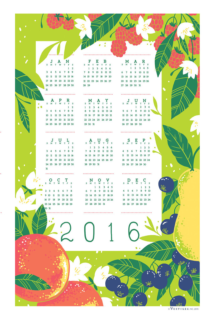 A limited edition 2016 calendar towel available at  Vestiges, Inc.