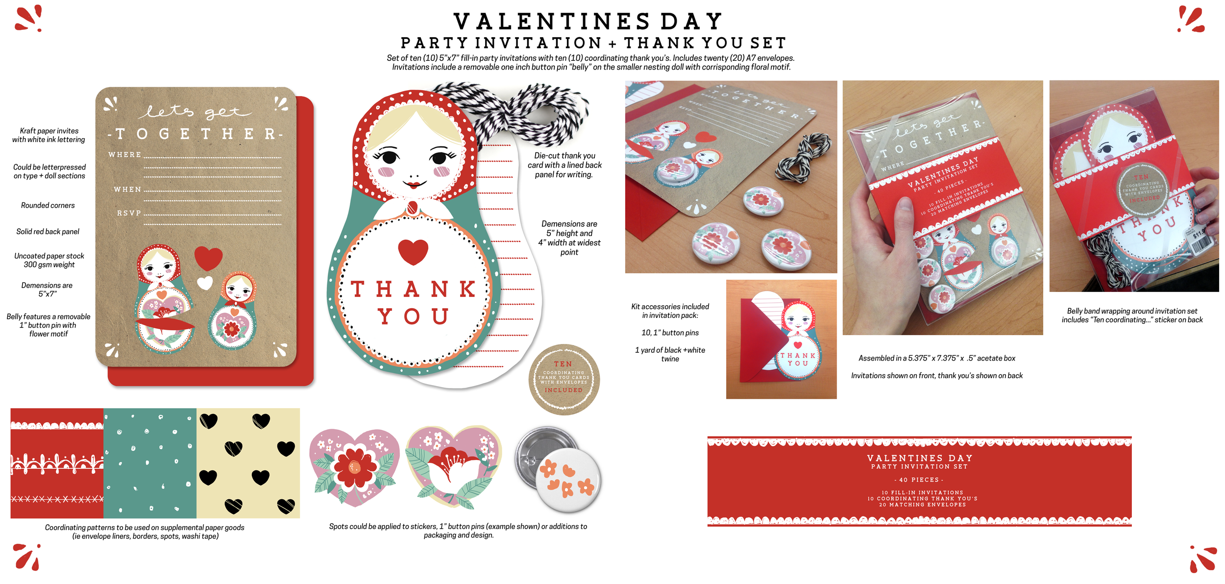 LETS GET TOGETHER   Invitation and thank you set for a Valentines Day themed party.