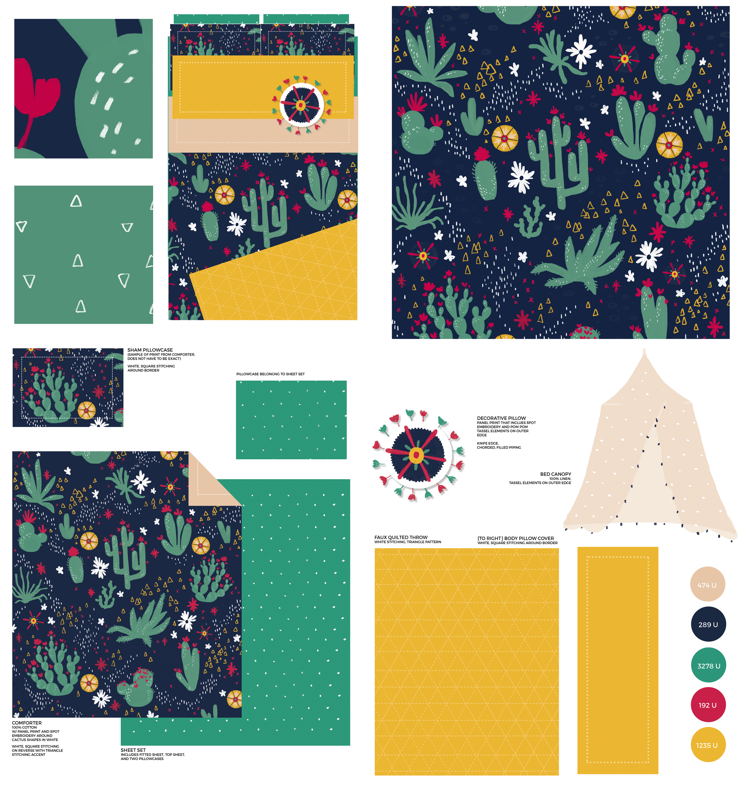 CACTUS BLOSSOMS BEDDING SET   Mock bedding design and repeat pattern inspired by South America