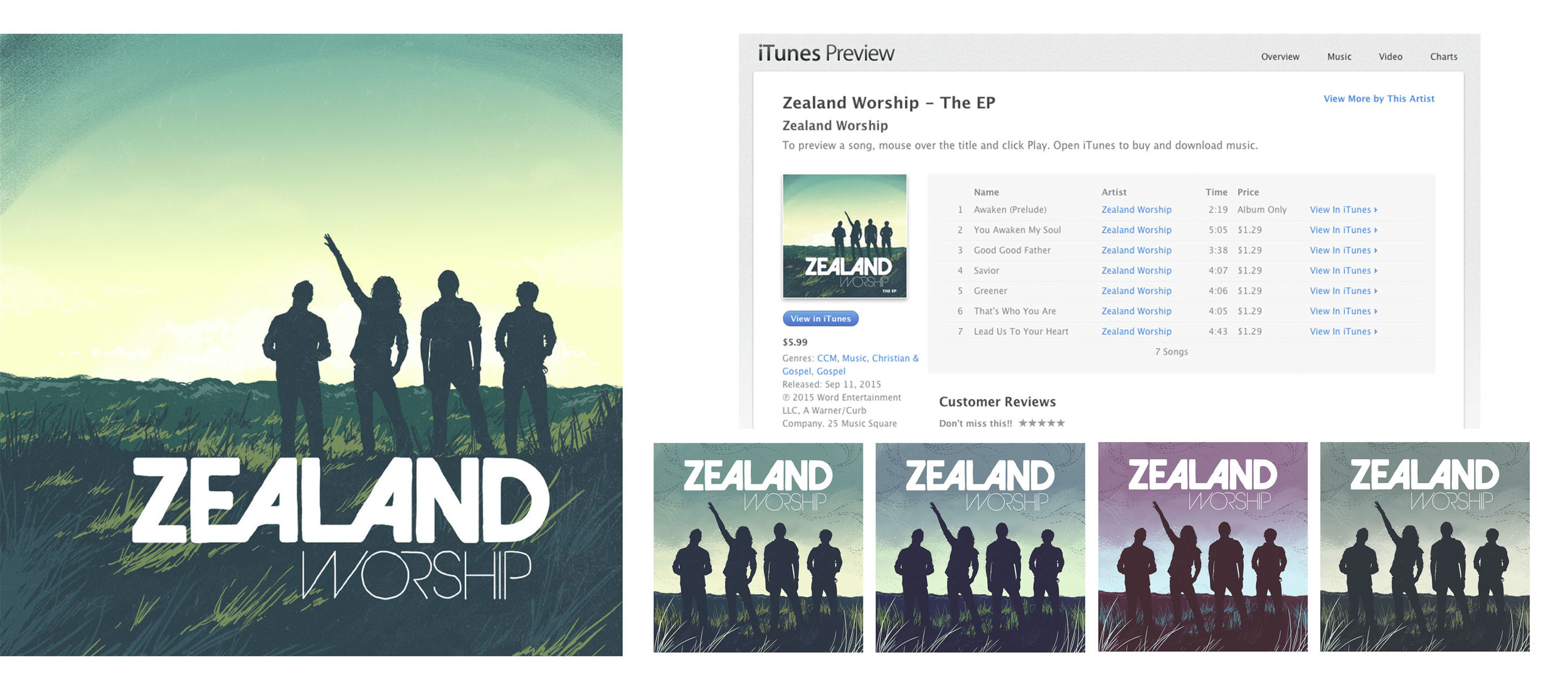 ZEALAND Worship    EP design and color mocks