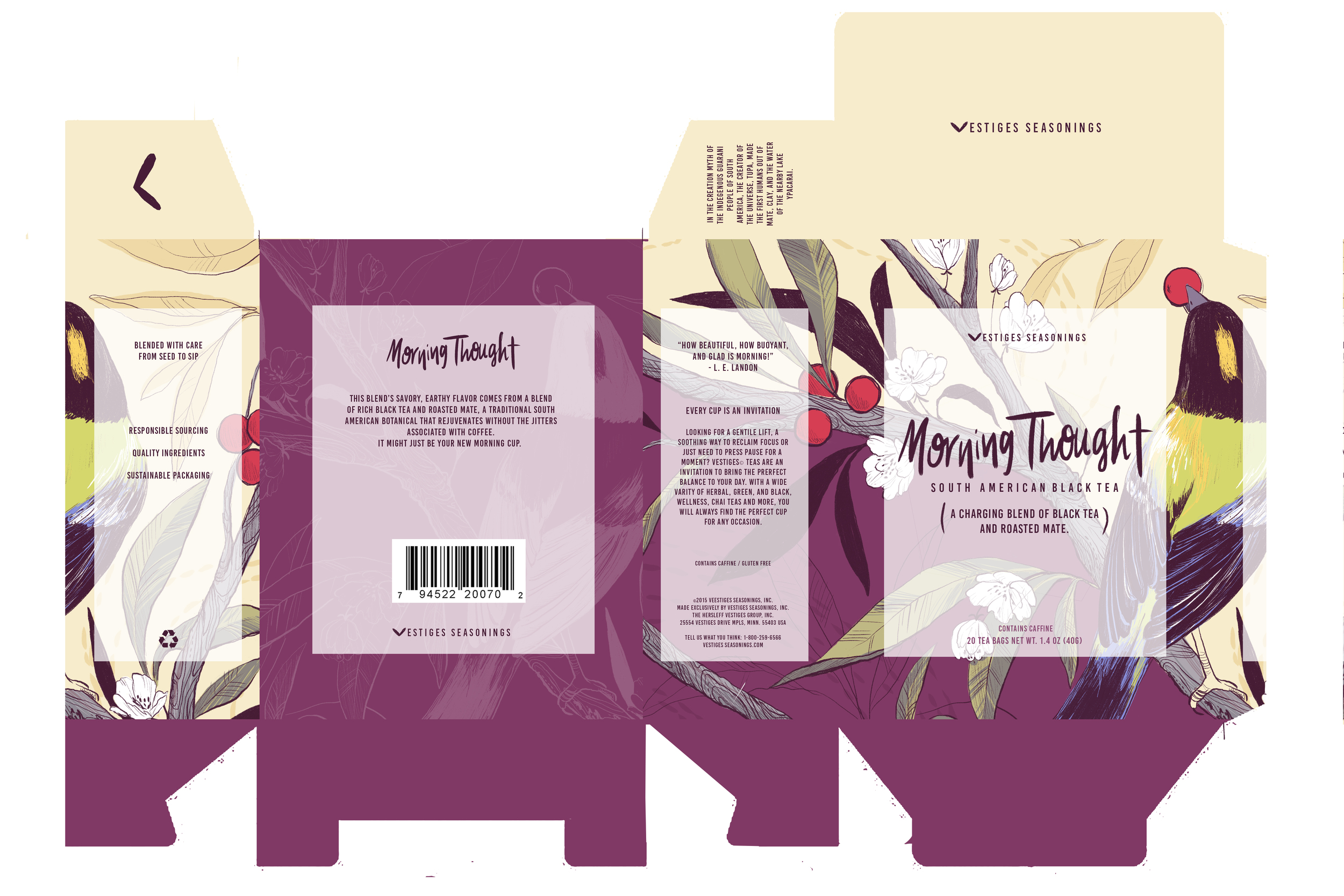MORNING THOUGHT  Mock tea box template for a brew originating in South America