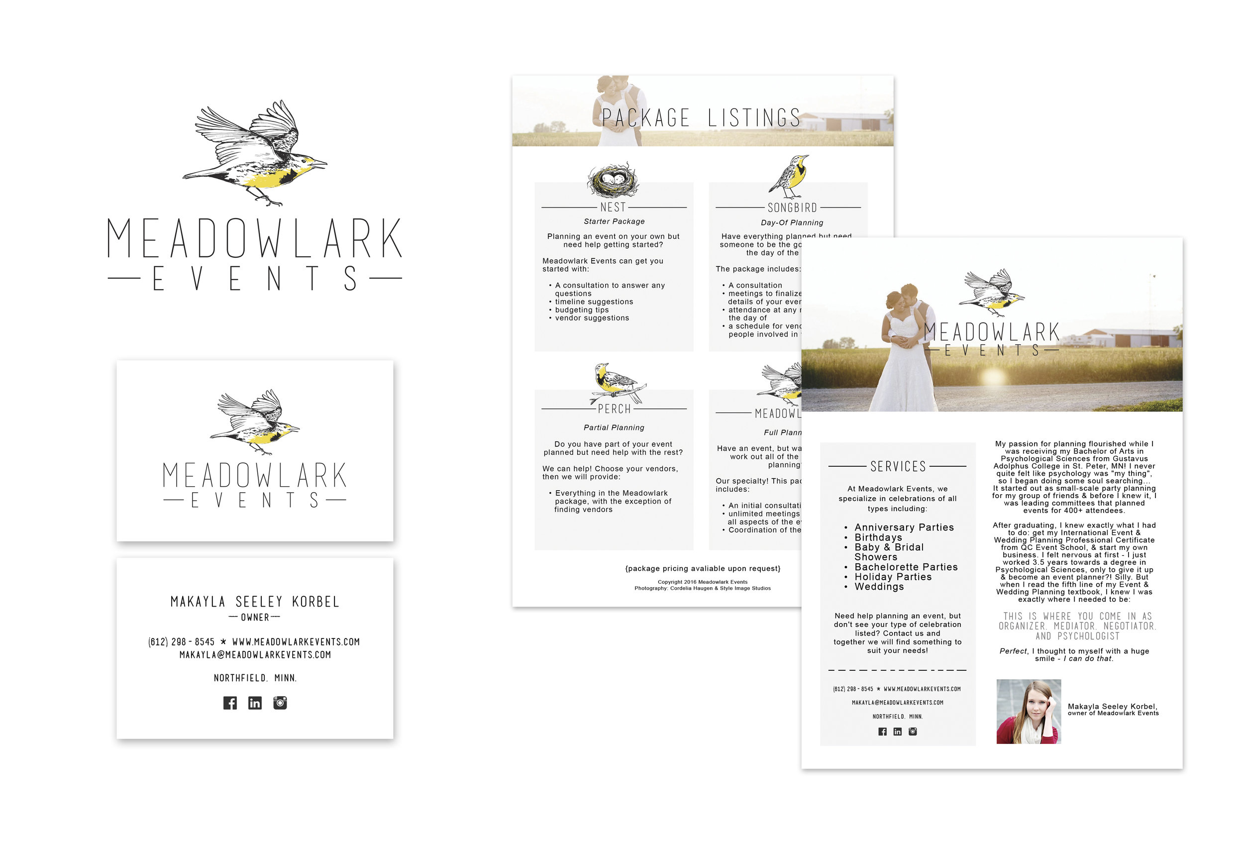 MEADOWLARK EVENTS   Promotional package including logo, business card, website headers, and fliers.