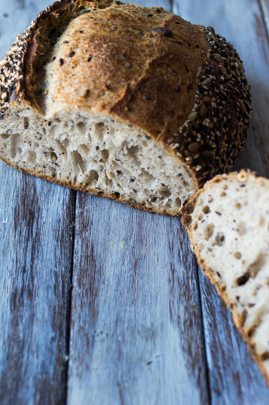 Seeded sourdough - 90% white flour, 10% wholemeal flour, 15% toasted seed mix (black sesame, sunflower, pumpkin, flax, poppy)