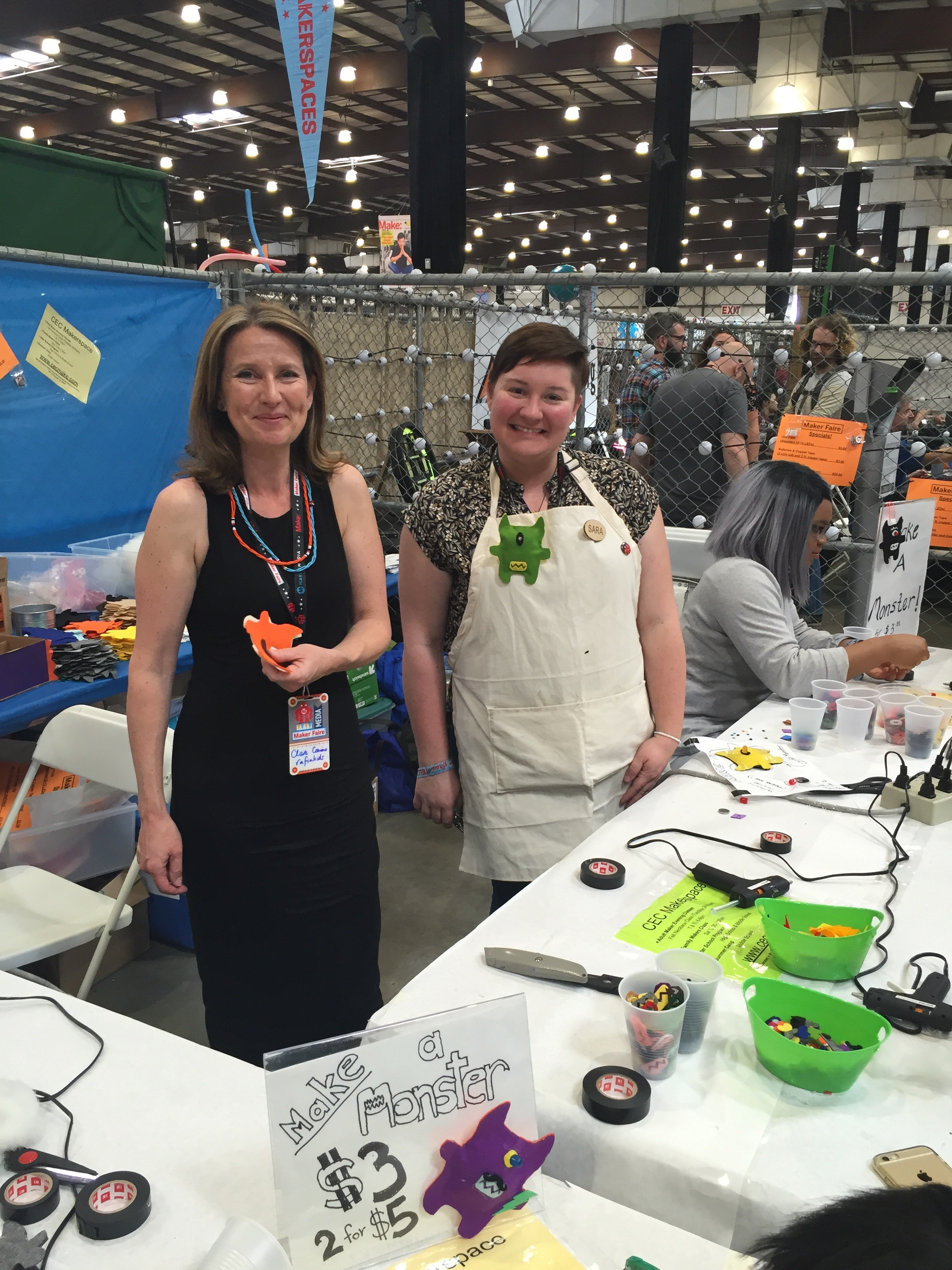Claire with community makerspace manager Sara Bolduc, set for a session helping kids of all ages make mini led monsters. CEC makerspace is a community makerspace in Novato, Marin, California