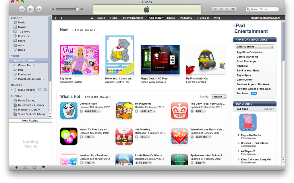 Lily, Kidscotent's iPad app for girls, at the top of the charts!