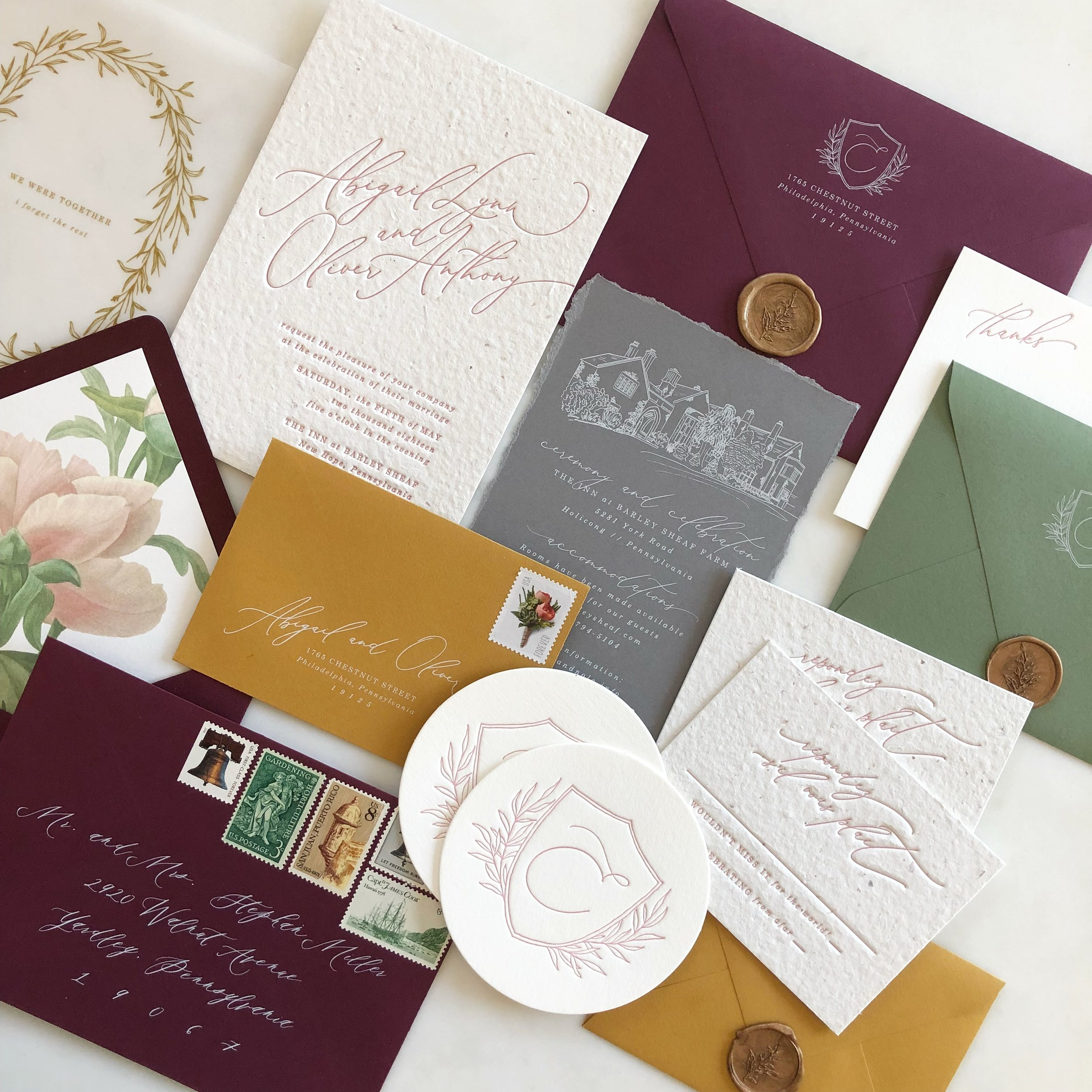 Venue Sketch, Handmade Paper, Wax Seals, White Ink Printing, Coasters, Vellum Insert