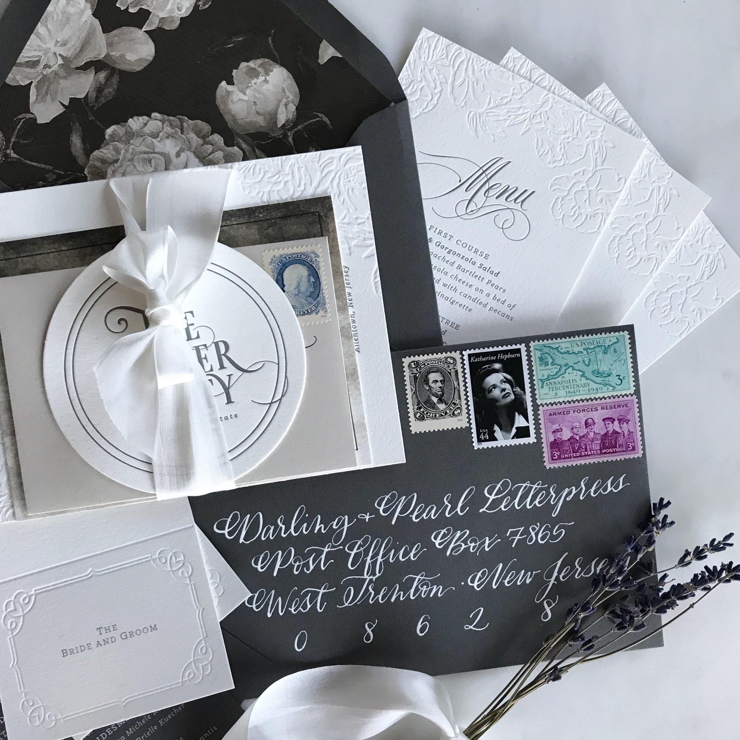 """""""Blind"""" Letterpress, Vintage Postage, Hand Calligraphy"""