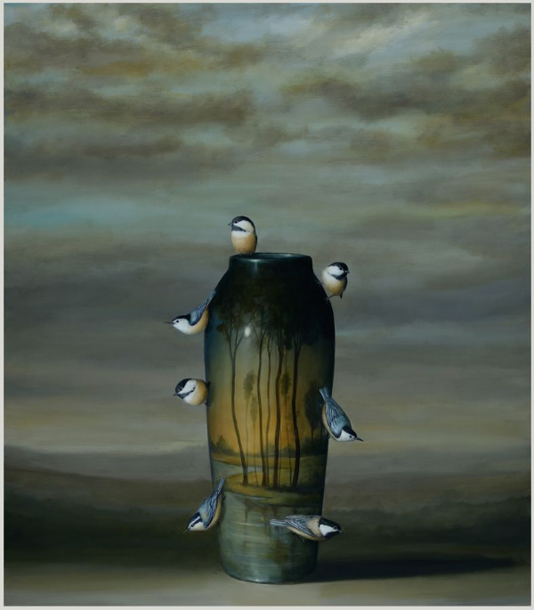 Vase and Nuthatches, oil on linen, 32 x 28