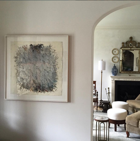 A Tim Hawkesworth's painting on paper installed in client home. Just LOVELY.