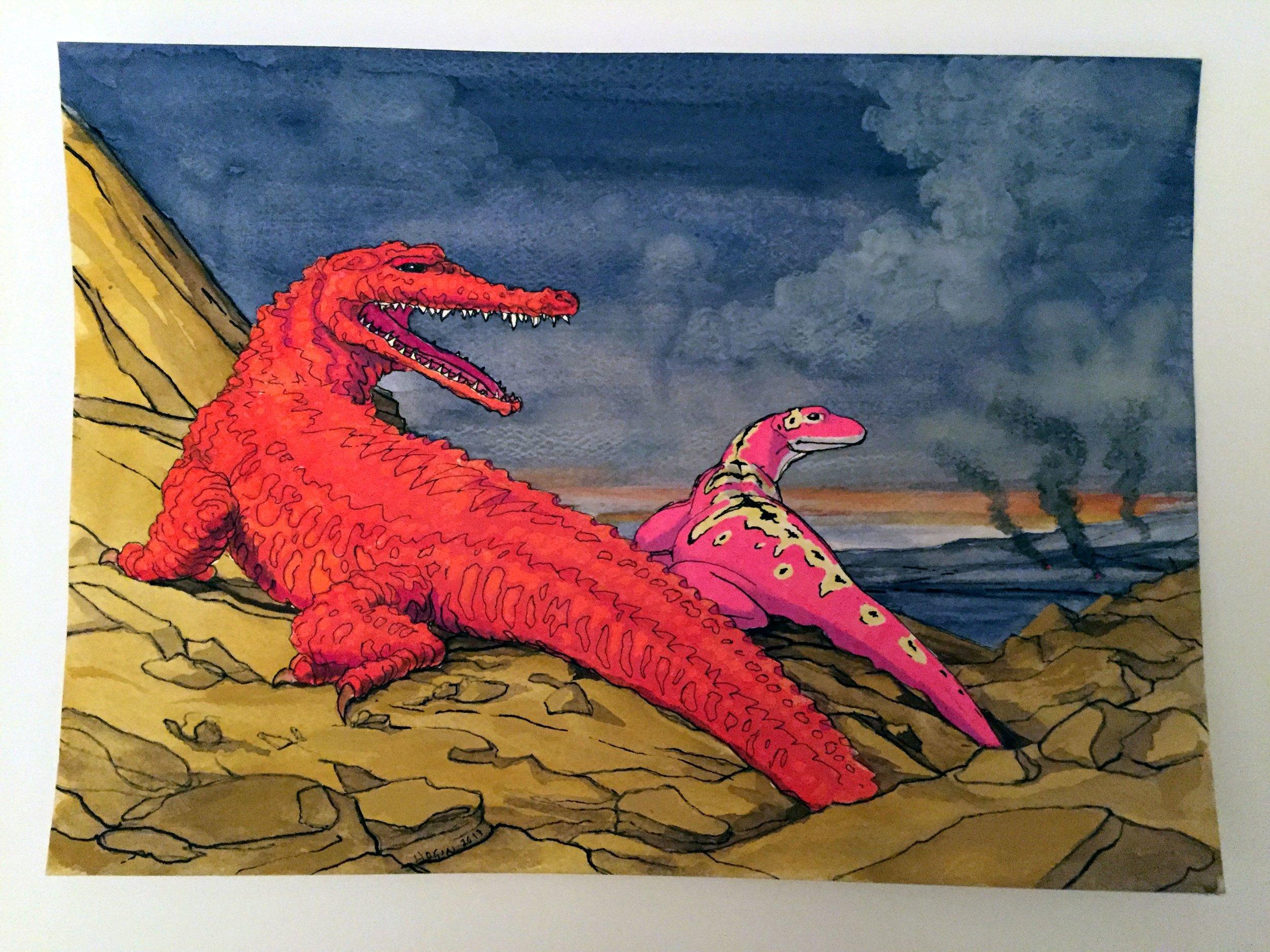 Reality Comix Habitat Diorama with Fire-Skinned Alligator