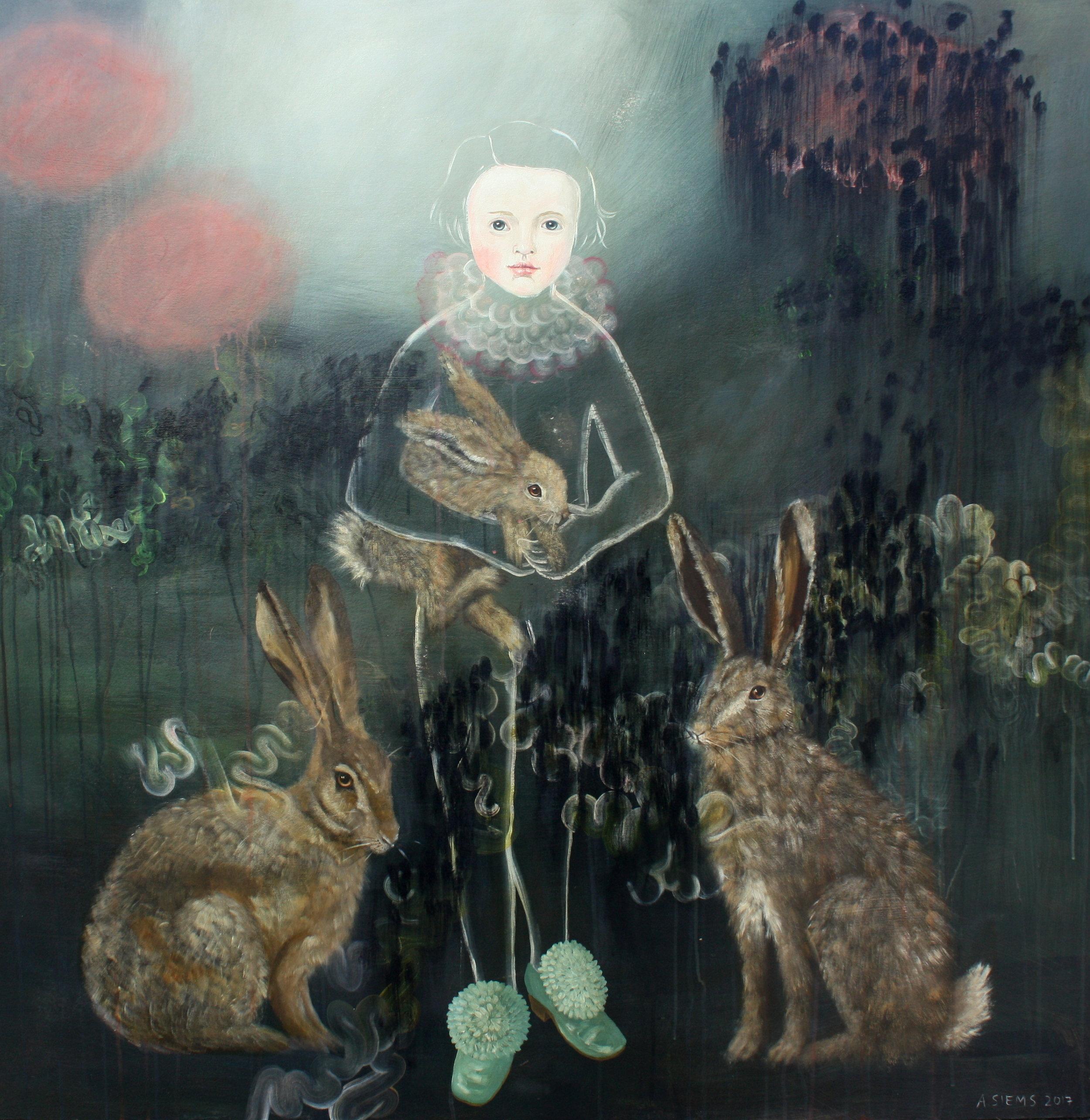 Rabbit Medicine, acrylic on prepared wood panel, 48x48