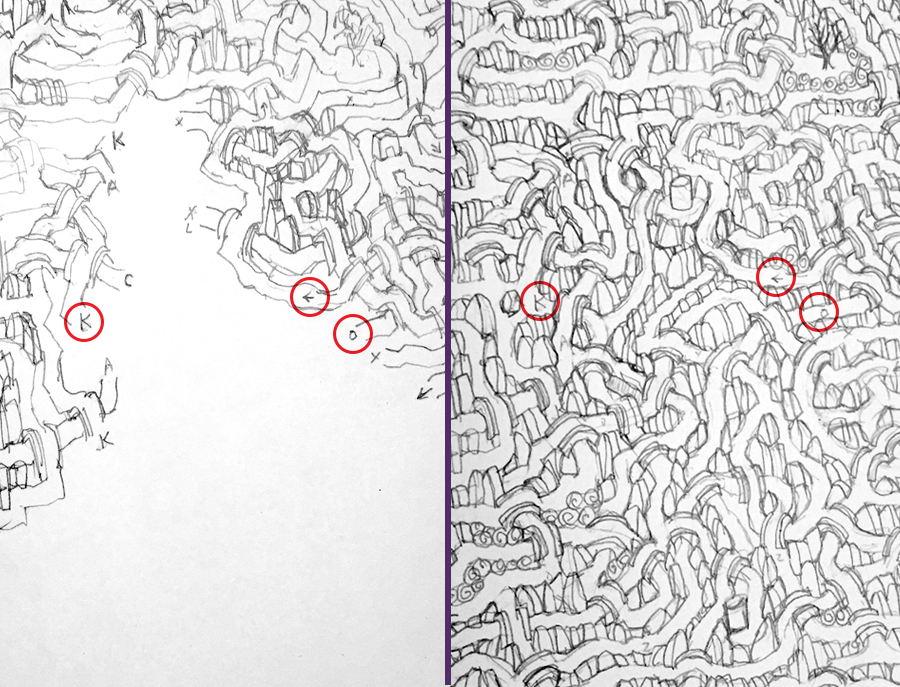 Left: Path notations help keep track of the maze.  Right: Final maze layout with notations still visible.