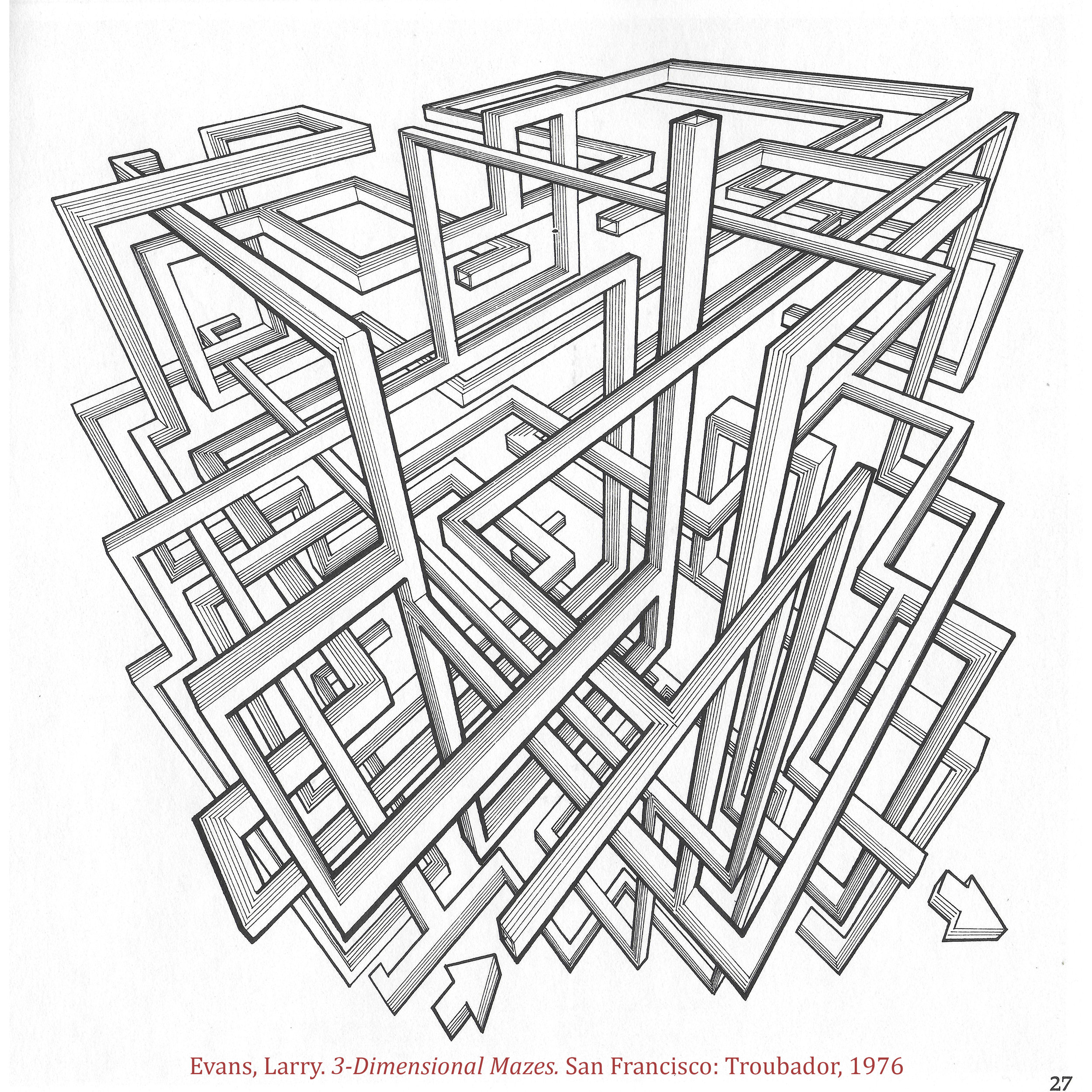 Evans professionally made architecture renderings and most of his mazes were ruled with strong one-, two- or three-point perspective. Needles to say, it was all manual pen and ink. No computers. How badass is that?