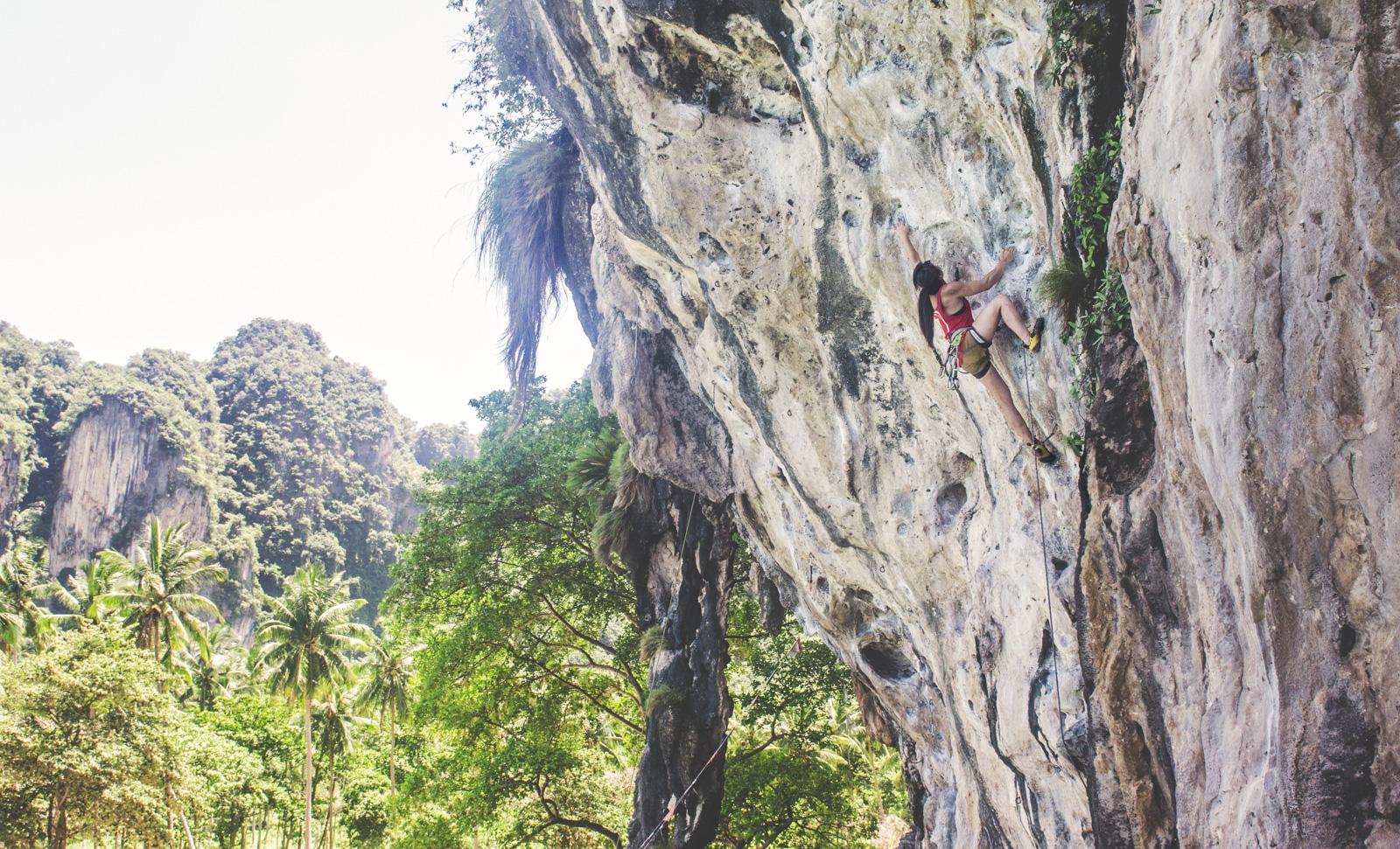 Rock climbing on Tonsai Beach.