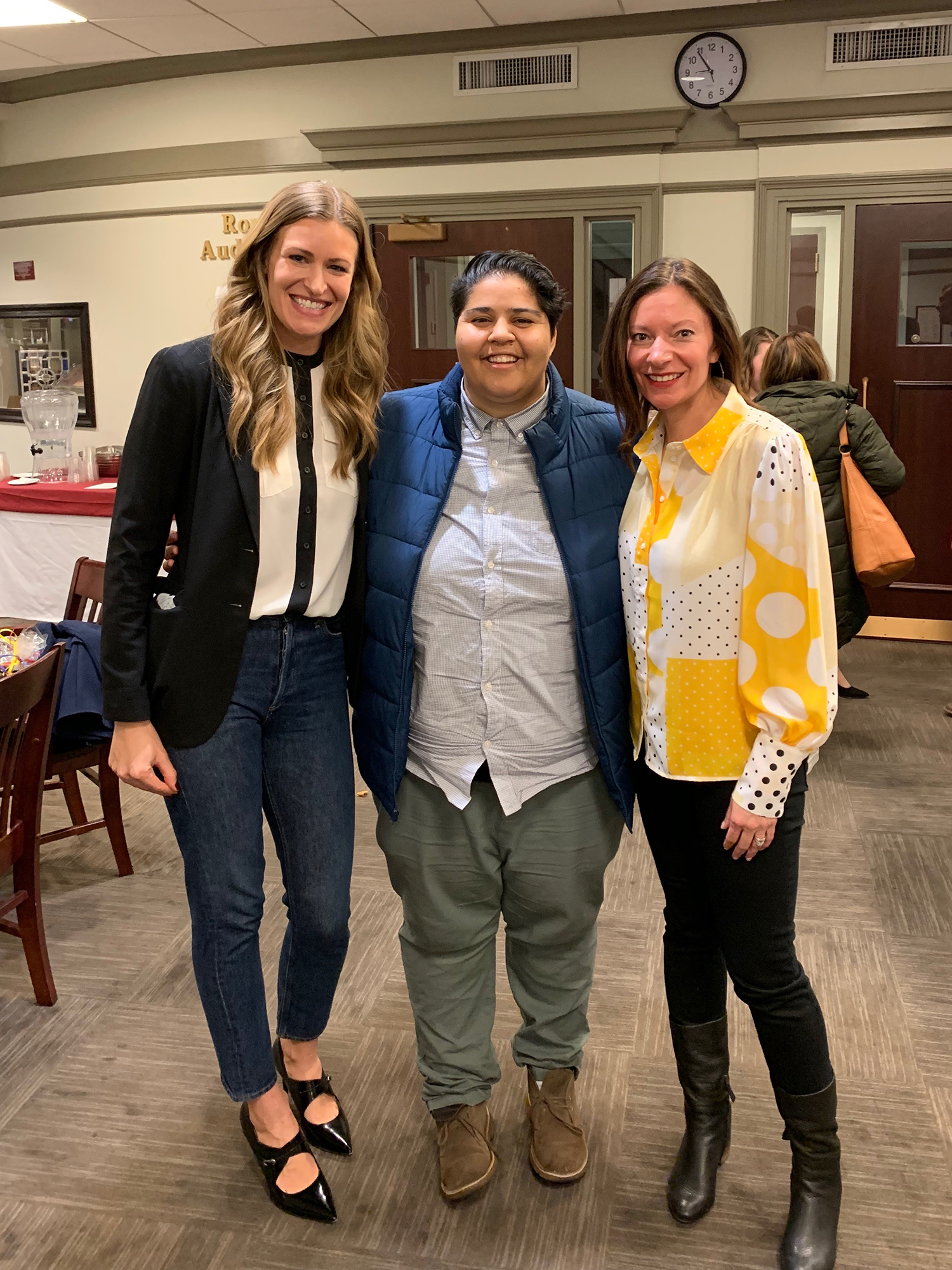 Laura Behnke, Katie Barnes and Sarah Lehberger (shown L-R) after their media panel at Iona College.