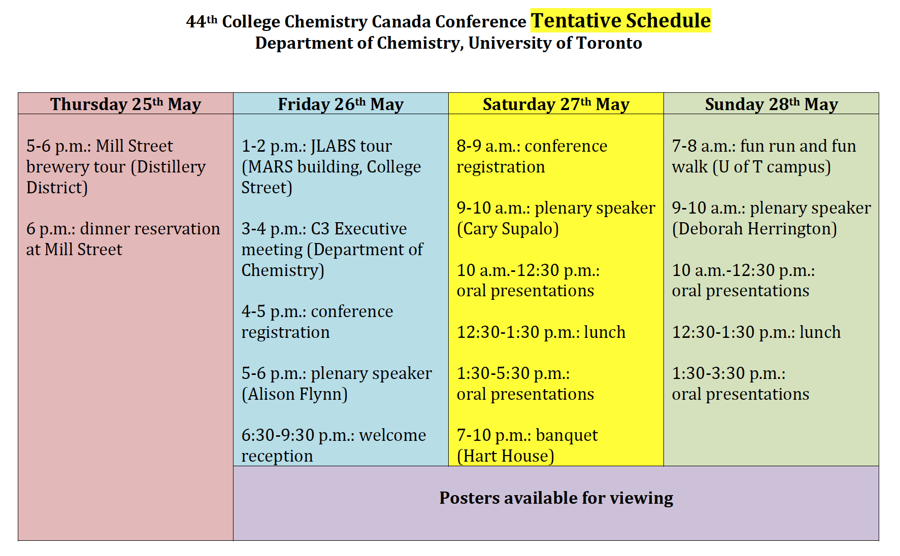 C3 Tentative Schedule