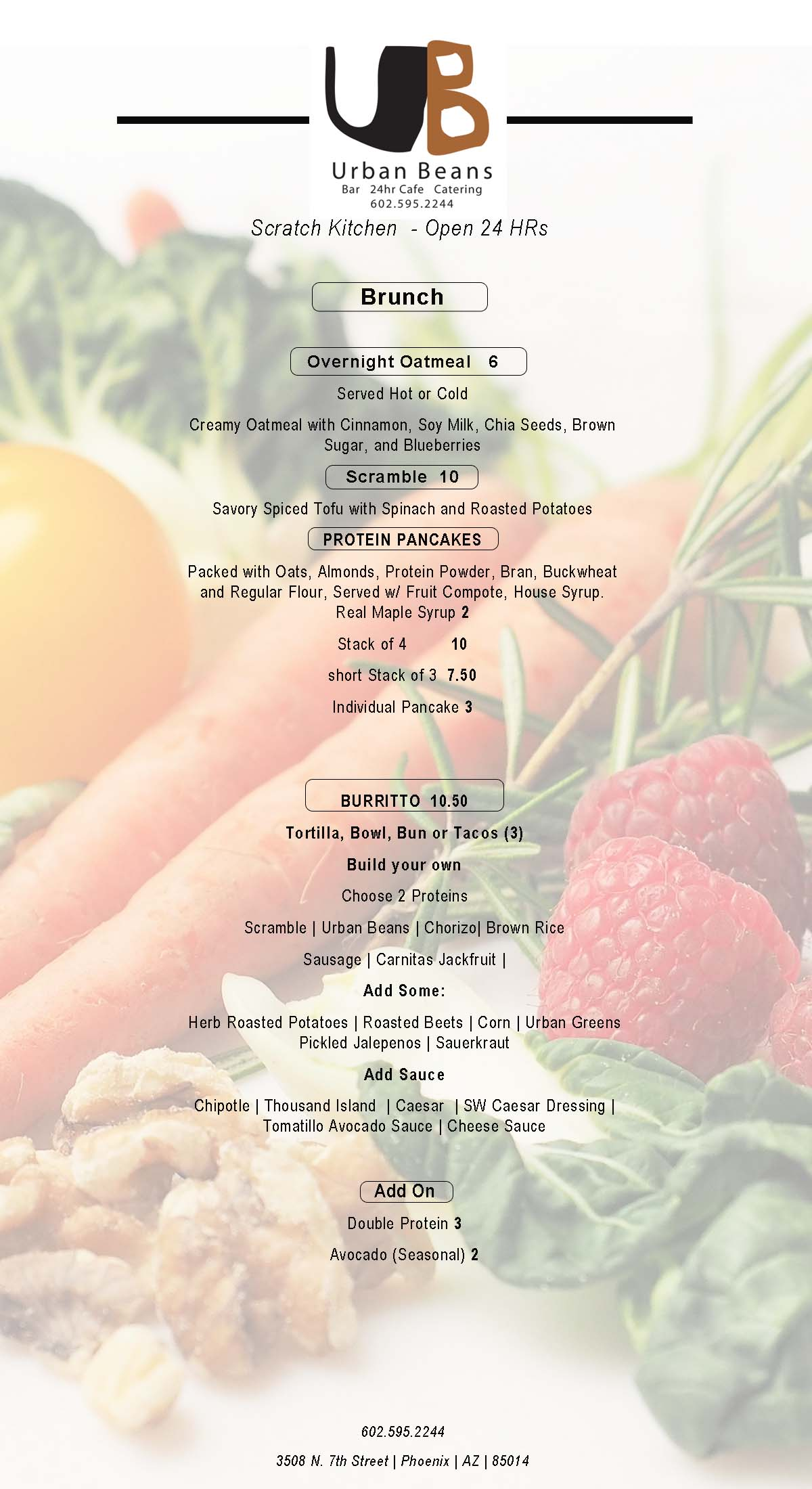 Urban Beans Brunch Menu