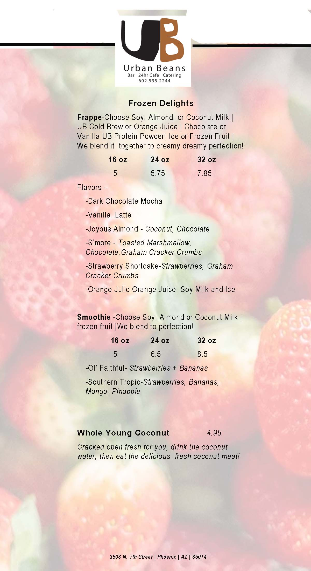 Urban Beans Frozen Beverage Menu