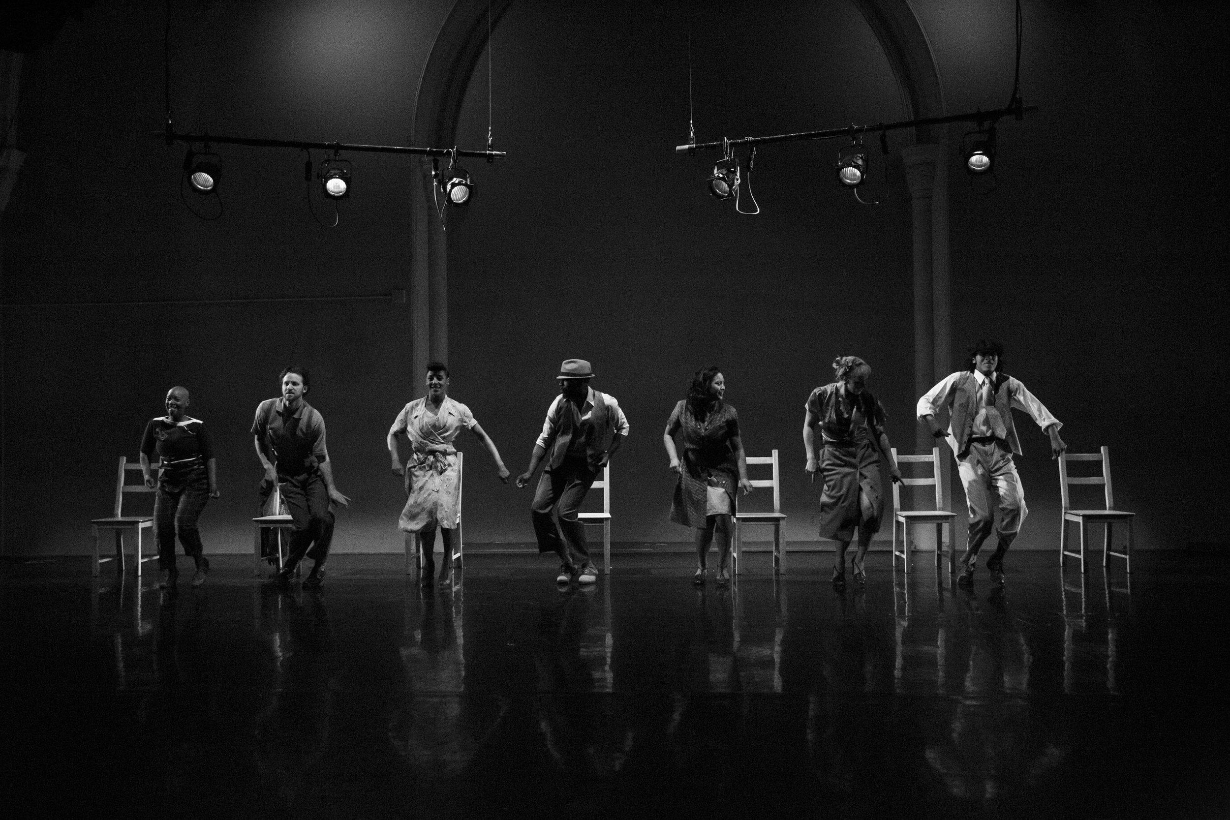 Photo by Tamara Romanchuk. The ensemble performing  FLOOR'D .