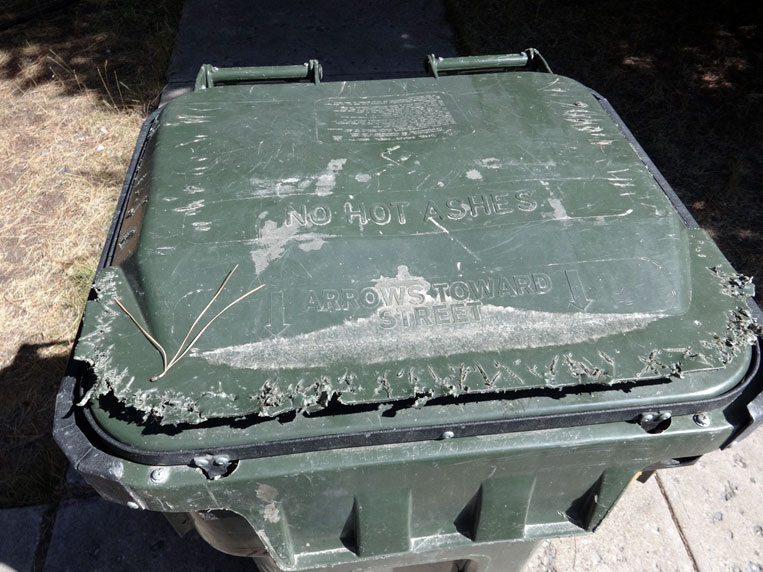 Photo of bear-resistant container that a bear tried to bite its way into but was unable and did not receive a food reward.