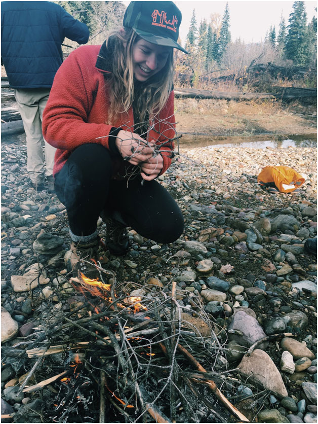 Cory and I were pretty psyched to get our twig bundle and fire going. The fire skills we learned as students in 2015 have come in handy several times during the past year!