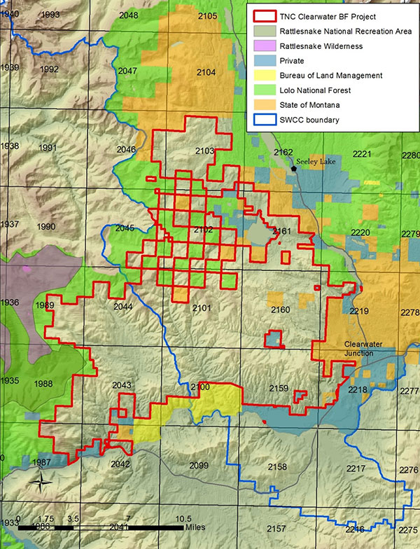 Map of The Nature Conservancy Clearwater Blackfoot Project.
