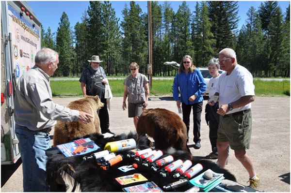 Chuck Bartlebaugh from Center for Wildlife Information offering advice about how to live in bear country at the Bear Fair