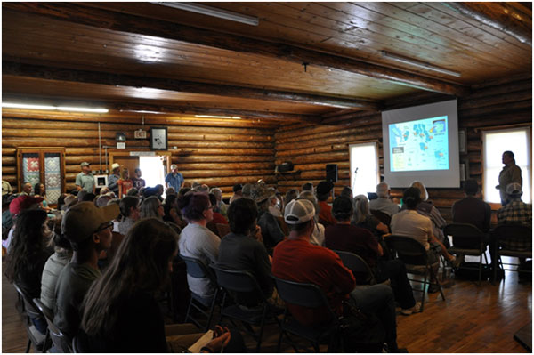 Lori Roberts from Montana Fish, Wildlife, and Parks giving presentation on grizzly bear research at the Bear Fair