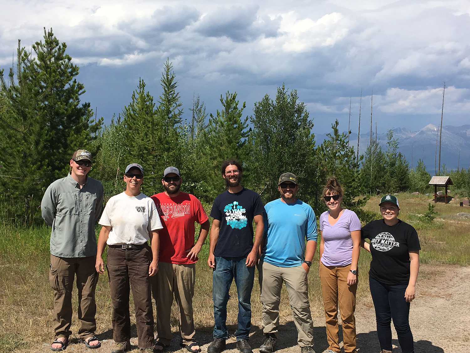 Backgrounded by a storm over the Swan Range, the electrofishing crew   is all smiles   after a day on Red Butte Creek.