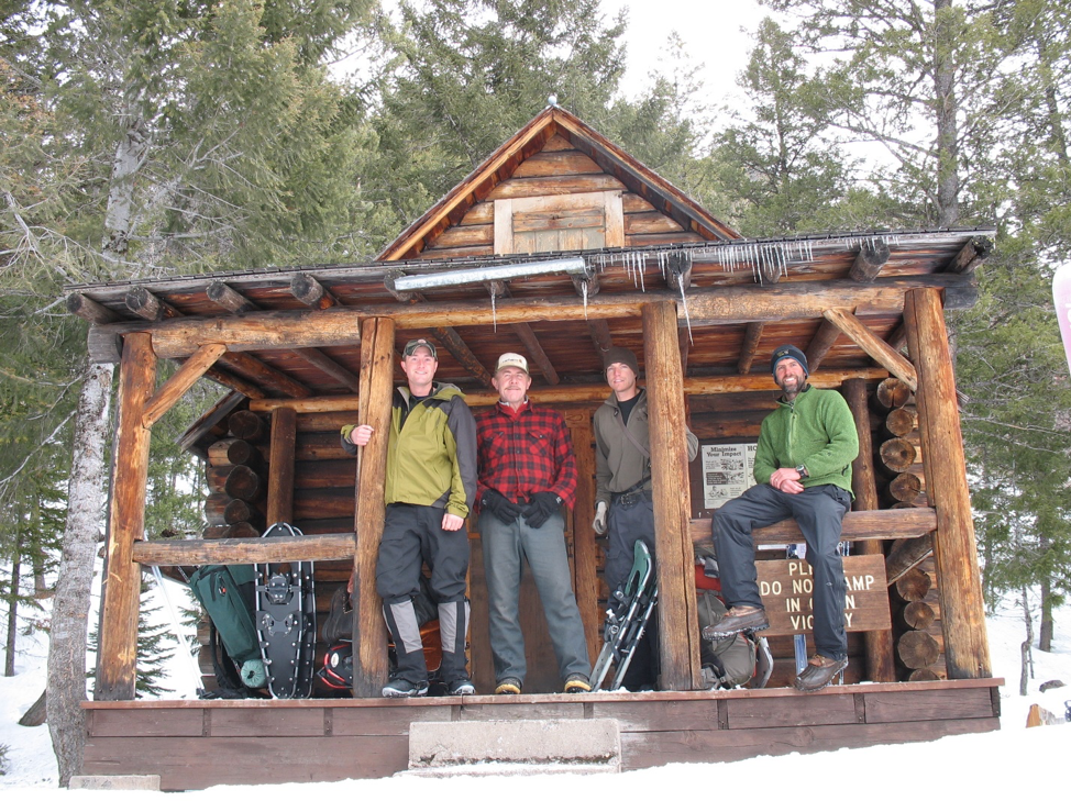 Luke Lamar, Mike Stevenson, Mike Mayernik, Eric Graham at the North Fork of Blackfoot cabin in the Scapegoat Wilderness. 2012.