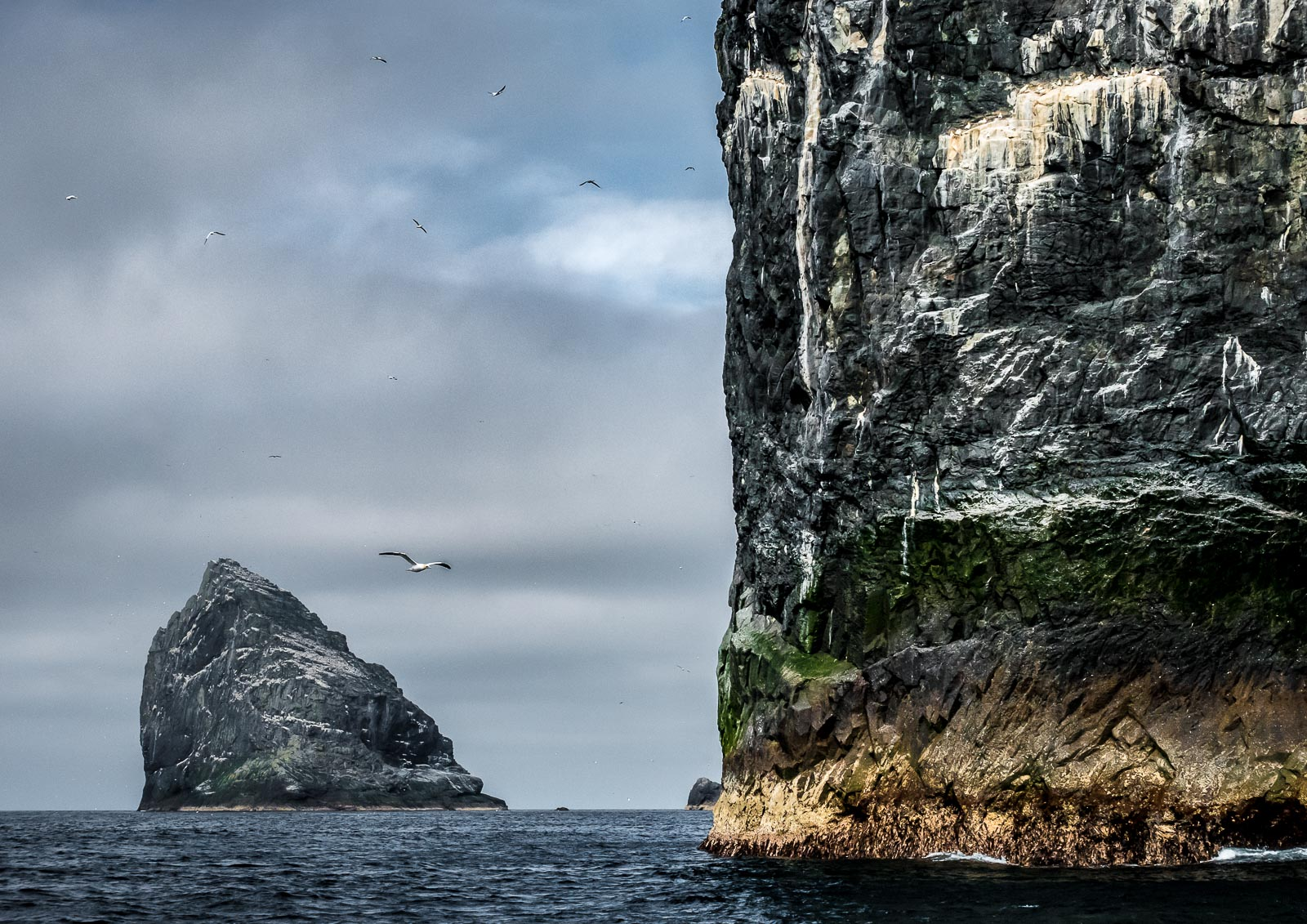 Stac Lee (foreground) and Stac an Armin (background). Stac an Armin is the highest sea stack in the British Isles.  Lumix GM5 12-32mm f3.5-5.6 at 32mm. 1/2500sec f8 ISO 1000