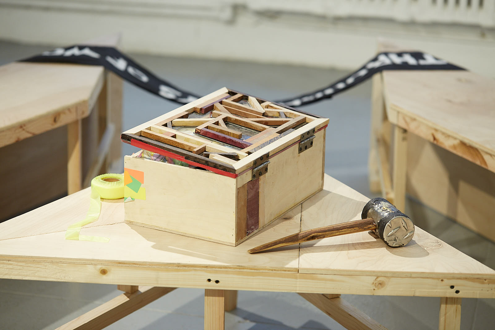 Group Exhibition #Callresponse March 23rd - May 5th at  Elizabeth Foundation for the Arts  Detail image of sculptural hammer, tool box and Bench object details made by IV Castellanos